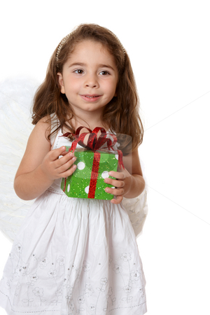 Little angel girl holding a gift stock photo, Beautiful little girl wearing a white dress and wings is holding a present. by Leah-Anne Thompson