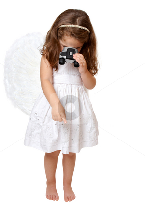 Angel looking down from heaven stock photo, A little angel in white dress and feathered wings looks down from heaven.  She is using binoculars. by Leah-Anne Thompson