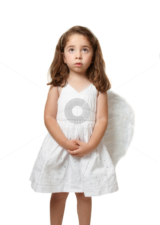 Little angel child serenely looking to heaven stock photo, Little angel girl wearing a beautiful white embroidered dress.  She has her hands gently clasped and is looking up toward heaven or sky by Leah-Anne Thompson