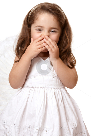 Giggling angel or fairy stock photo, Adorable giggling angel girl by Leah-Anne Thompson