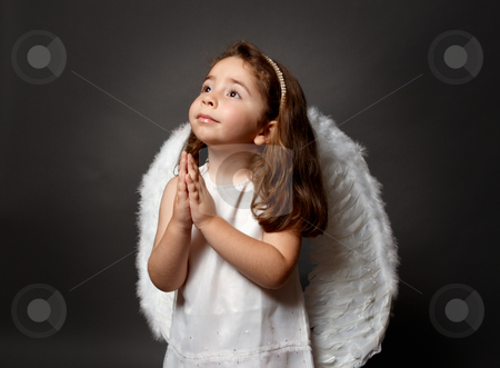 Holy angel praying stock photo, Little white angel child with hands together in devotional prayer and looking heavenward with hope and faith. by Leah-Anne Thompson