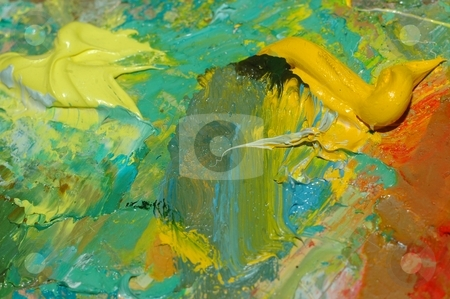Abstract oil painting stock photo, Brite abstact painting and vivid colors on old oil palette by Oleg Blazhyievskyi