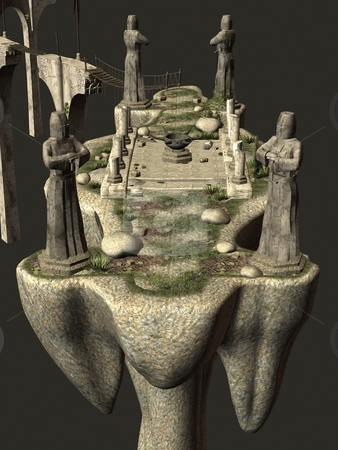Dragon island stock photo, 3D rendered island with tower, statues and bridge by Patrik Ruzic