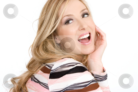 Happy carefree woman stock photo, Happy joyful woman wearing makeup and with hair loose and wavy. by Leah-Anne Thompson