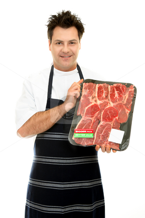 Butcher with tray of steak stock photo, Congenial butcher holding up some fresh tender steak by Leah-Anne Thompson