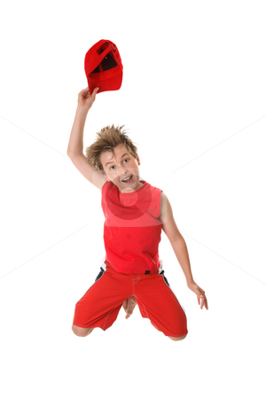 Spirited Happy Boy Jumping   stock photo, Woo Hoo!  A jubilant enthusiastic boy leaps into the air having fun by Leah-Anne Thompson
