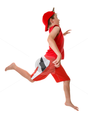 Child running fast stock photo, A boy running or sprinting with large open strides in a hurry  or just energetic, Some motion in  fingers. by Leah-Anne Thompson
