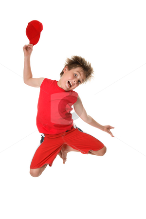 Happy-go-lucky Boy stock photo, A happy carefree boy jumps in glee. by Leah-Anne Thompson