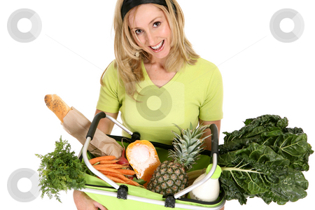 Female with eco shopping bag filled with groceries stock photo, A woman with an eco shopping back filled with food essentials,  fresh fruit, vegetables, milk and bread. by Leah-Anne Thompson