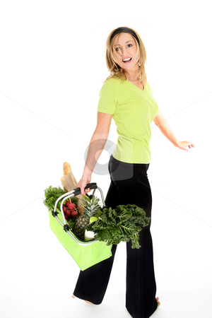 Happy Eco Shopper stock photo, A girl with an eco friendly reusable shopping bag filled with fresh fruit and vegetables, milk and bread.  Bag collapses and folds flat when not in use. Foam grip handles for comfort and zip cover when necessary.. by Leah-Anne Thompson