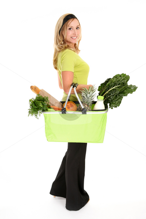 Healthy Shopper stock photo, Woman with a shopping bag filled with nutritious fruit and vegetables, by Leah-Anne Thompson