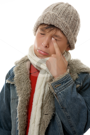 Sad Face stock photo, Sad, sullen,  pouting boy rubs an eye by Leah-Anne Thompson
