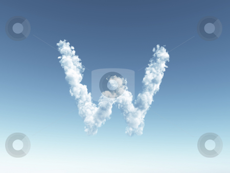 Cloudy letter M stock photo, Clouds forms the uppercase letter W in the sky - 3d illustration by J?