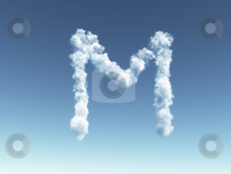 Cloudy letter M stock photo, Clouds forms the uppercase letter M in the sky - 3d illustration by J?
