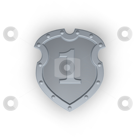 Metal shield with number one stock photo, Metal shield with the number one one white background - 3d illustration by J?