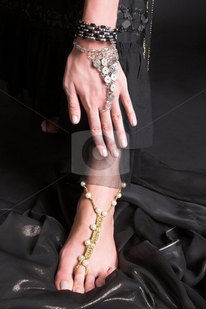 Belly Hand and Foot stock photo, Decorated Hand and foot of a belly dancer by Carla Booysen
