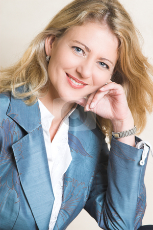 Female Model stock photo, Beautiful Blond Adult Female model wearing a blue jacket by Carla Booysen