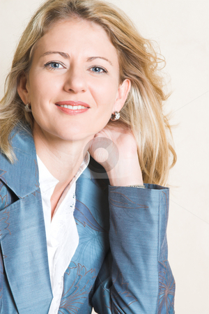 Female Model stock photo, Beautiful Blond Adult Female model wearing a blue jacket by Carla Booysen