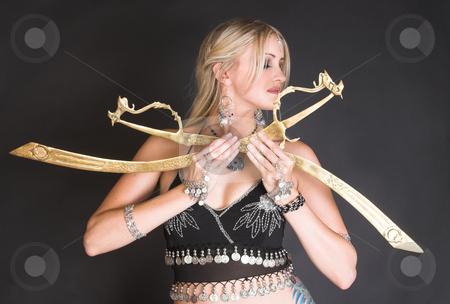 Belly Dancer stock photo, Belly Dancer hands holding Tribal Zagat or finger symbols by Carla Booysen