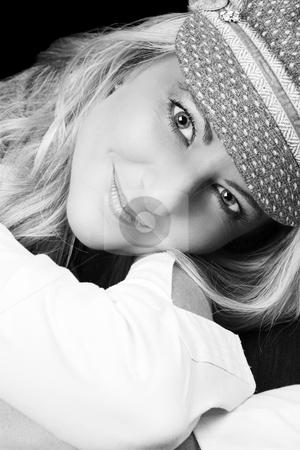 Blond Woman stock photo, Beautiful Blond Adult model wearing a blue jacket by Carla Booysen