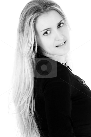 Blond Model stock photo, Beautiful young blond model in black and white by Carla Booysen