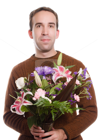 Florist stock photo, A male florist holding a bouquet of flowers, isolated against a white background by Richard Nelson