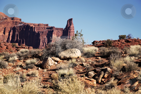 Canyonlands National Park Fisher Tower stock photo, View of the red rock formations in  Canyonlands National Park with blue sky by Mark Smith