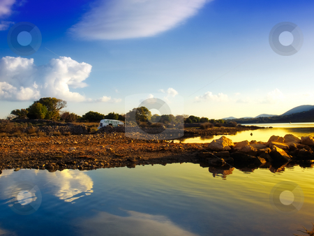Last summer stock photo, Beautiful landscape with camping wreck  somewhere near the Adriatic sea... by Sinisa Botas