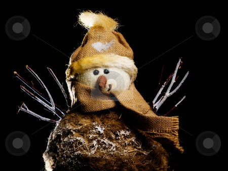 Snowman stock photo, Funny snowman isolated on a black background. by Sinisa Botas