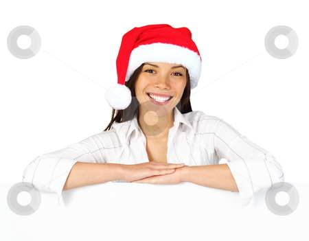 Christmas woman sign stock photo, Christmas woman with sign. Very beautiful mixed race asian / caucasian woman with billboard looking at camera. Isolated on white background. by Maridav