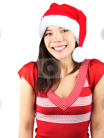 Cute Christmas Girl  stock photo, Santa girl. Cute shy smiling mixed asian / caucasian young woman with christmas hat. Isolated on seamless white background. by Maridav