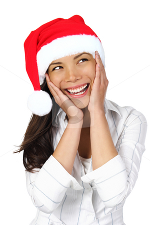 Surprised Christmas Woman stock photo, Surprised Christmas Woman. Very beautiful surprised woman with santa hat holding her head in amazement and Looking to the side. Isolated on seamless white backgrund. by Maridav