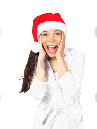 Surprised excited christmas woman stock photo, Christmas girl very excited and surprised holding her head. Beautiful mixed asian / caucasian model. Isolated on seamless white background. by Maridav
