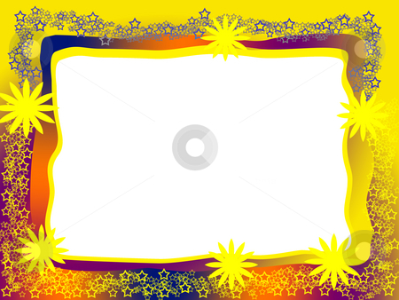 Bright Decorative Frame stock photo, Bright Decorative Frame with Yellow Flowers Lacy Stars and Blank White Background by Skovoroda