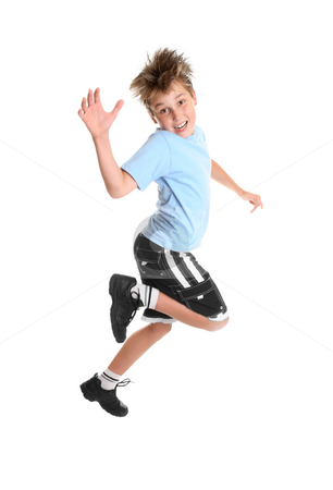 Child hopping stock photo, Hopping or skipping child showing happiness. by Leah-Anne Thompson