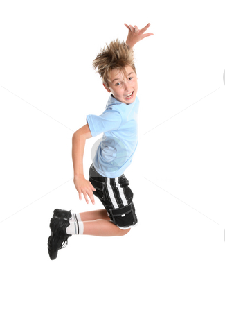 Active boy leaping stock photo, Active, energetic and happy go lucky boy leaping and smiling.  fitness or concept by Leah-Anne Thompson