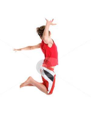Active carefree kids stock photo, A carefree boy freely moves his body. by Leah-Anne Thompson