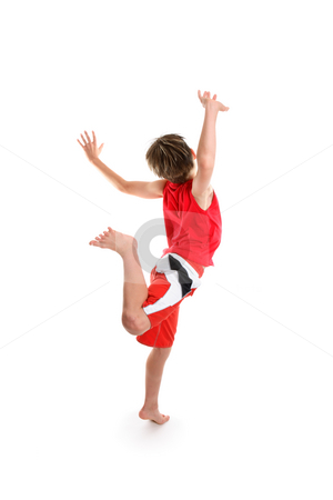 Hooray stock photo, An excited  boy feeling good is  leaping for joy by Leah-Anne Thompson