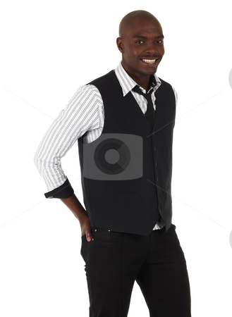 Young African businessman stock photo, Young black African businessman in semi-formal clothes on a white background in various poses and with various facial expressions. Not Isolated, Part of a series. by Sean Nel