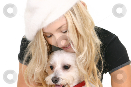 Woman and dog stock photo, A woman with a small pet dog by Leah-Anne Thompson
