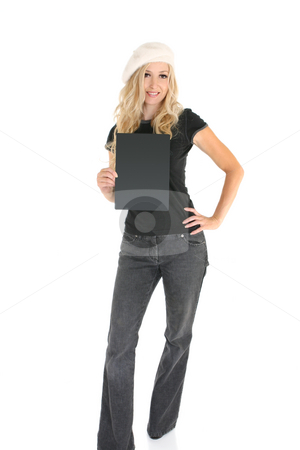 Casual woman with Sign stock photo, Casual woman in jeans and t-shirt  holding a sign or message. Add text or replace with a book, brochure, etc. by Leah-Anne Thompson