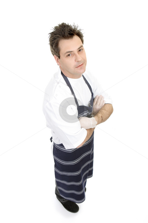 Butcher standing stock photo, Butcher standing arms crossed against a white background. by Leah-Anne Thompson