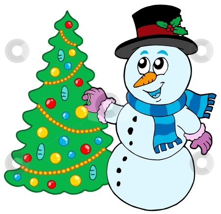 Snowman decorating Christmas tree stock vector clipart, Snowman decorating Christmas tree - vector illustration. by Klara Viskova