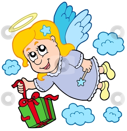 Flying angel with gift stock vector clipart, Flying angel with gift - vector illustration. by Klara Viskova