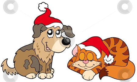 Christmas cat and dog stock vector clipart, Christmas cat and dog - vector illustration. by Klara Viskova