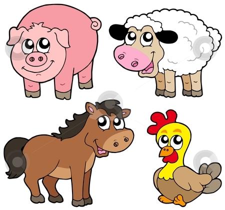 Cute country animals collection stock vector clipart, Cute country animals collection - vector illustration. by Klara Viskova