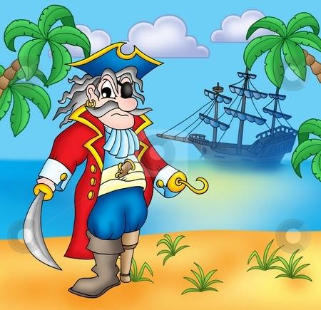 Old pirate on beach stock photo, Old pirate on beach - color illustration. by Klara Viskova