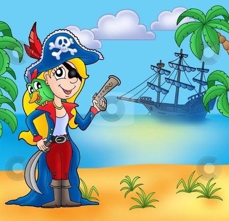 Pirate girl on beach 2 stock photo, Pirate girl on beach 2 - color illustration. by Klara Viskova