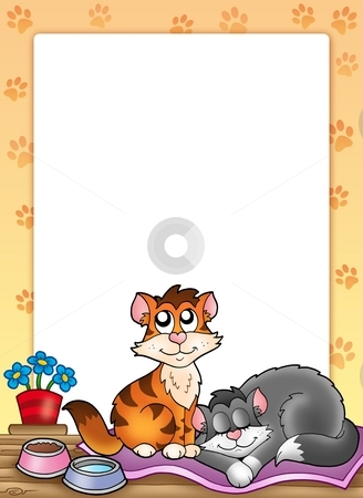 Frame with two cute cats stock photo, Frame with two cute cats - color illustration. by Klara Viskova