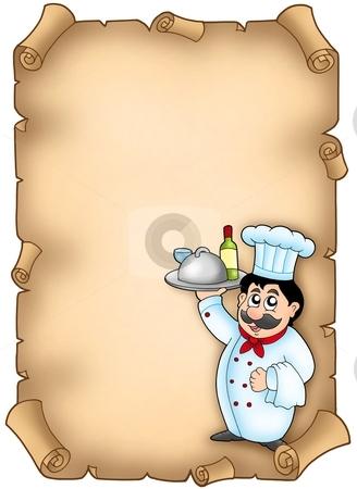 Chef holding meal on parchment stock photo, Chef holding meal on parchment - color illustration. by Klara Viskova